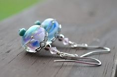 Ocean Mist Lampwork Sterling Silver Earrings | BarnSwallowJewelry - Jewelry on ArtFire