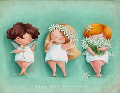 Elina Ellis Illustration: Flirty Fairies summer version.
