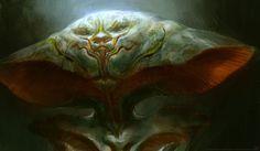 Bjorn Hurri ilustrações artes conceituais fantasia games Cabeça de alienígena