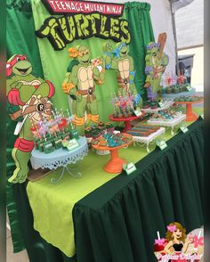 """180 Likes, 14 Comments - Jessica (@preciousdelights_) on Instagram: """"Ninja turtles dessert table Props by @gigis_decoration_rentals Dessert tent by…"""""""