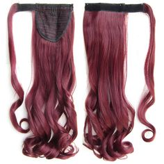 Soloowigs Fake Hair Long Natural Wavy Clip In Ponytails With Velcro 47 Colors for Choose