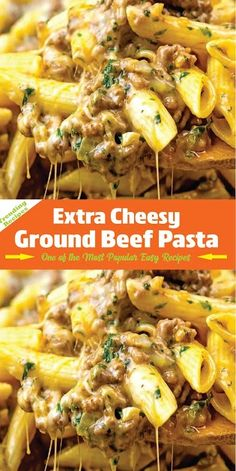 Great for using any leftover pasta! Simple and inexpensive cheesy ground beef skillet dinner that's nice enough for company. beef recipes for dinner Extra Cheesy Ground Beef Pasta Hamburger Meat Recipes Ground, Ground Beef Recipes For Dinner, Dinner With Ground Beef, Easy Meat Recipes, Healthy Recipes, Casseroles With Ground Beef, Ground Beef Recipe Kids, Easy Meals With Hamburger Meat, Ground Pork Recipes Easy