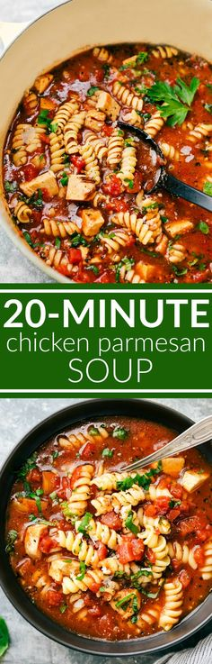 Twenty minutes TOTAL for this delicious, healthy, and easy chicken parmesan soup to be on your table! This is a soup the entire family will go nuts over! via chelseasmessyapron.com