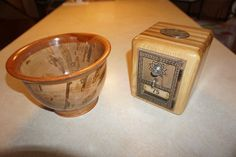 Hand turned ambrosia wood bowl and post office box coin bank.