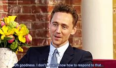 (gif) Tom's reaction when asked about his sexiness. hahahahaha he looks so embarrassed! such a doll <3