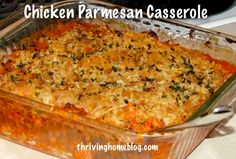 Chicken Parmesan Casserole Recipe: about 4 cups of shredded, cooked chicken about 1 jar of marinara sauce 1-2 cups shredded mozzarella cheese about 1 cup panko or whole wheat bread crumbs 1-2 tablespoons olive oil fresh, chopped herbs (parsley, basil, oregano, etc) salt and pepper