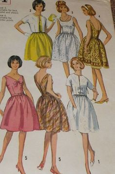 Vintage 1960s Simplicity 5954 Full Skirt Dress - these all have thin belts