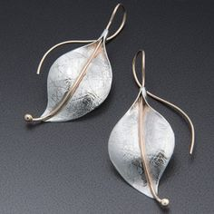 Deborah Richardson. Leaf earring, Sterling silver, 14k gold. from ALCHEMY 9•2•5 for $330.00