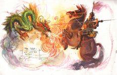 Saint George vs Dragon painting - Bill Sienkiewicz Comic Art