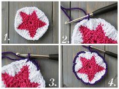 Die Schaubude ---Guter Stoff in Form gebracht---: Häkelsterndecke Tutorial Teil Quick Crochet, Crochet Art, Crochet Patterns, Crochet Ideas, Crochet Squares, Crochet Granny, Art Tutorials, Knitted Hats, Blog