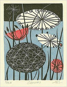 Angie Lewin is a lino print artist, wood engraver, screen printer and painter depicting the UK's natural flora in linocut and other limited edition prints. Design Textile, Design Floral, Art And Illustration, Boho Pattern, Linocut Prints, Art Prints, Angie Lewin, Wood Engraving, Natural Forms