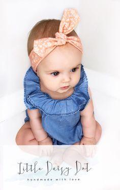 Floral Baby Headband - Baby Headband - Newborn Headband - Baby Shower Gift - Newborn Gift - Baby Girl Bow - Knotted Headband - Vintage Baby -