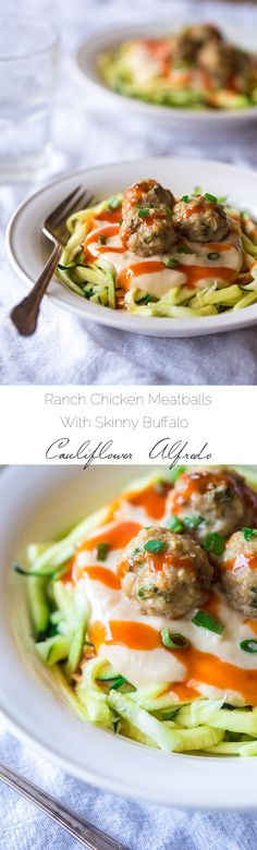 Buffalo Chicken Meatballs & Zoodles with Skinny Buffalo Cauliflower Alfredo #protein
