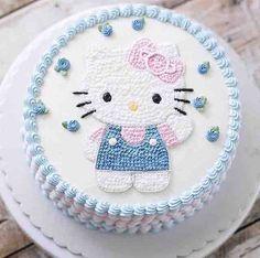 Cake Decorating Frosting, Cake Decorating Designs, Creative Cake Decorating, Birthday Cake Decorating, Cake Designs, Girly Birthday Cakes, Hello Kitty Birthday Cake, Happy Birthday Cake Pictures, Hello Kitty Cupcakes