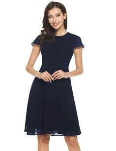 Red Women Cap Sleeve Keyhole Back Fit and Flare Cocktail Party Chiffon Dress