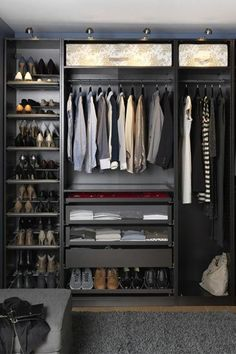 22 Must-See Closet Designs Having an organized closet makes getting ready in the morning so much easier. With the PAX/KOMPLEMENT wardrobe system you can choose frames in finishes to suit your style and customize the organization inside to suit your needs. Walking Closet, Walk In Wardrobe, Bedroom Wardrobe, Capsule Wardrobe, Ikea Pax Wardrobe, Bedroom Closets, Black Wardrobe, Bedroom Closet Design, Shoe Wardrobe