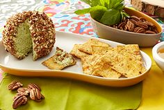 Pecan-Basil Cheese Ball  http://www.stacyssnacks.com/recipes/recipe/pecan-basil-cheese-ball