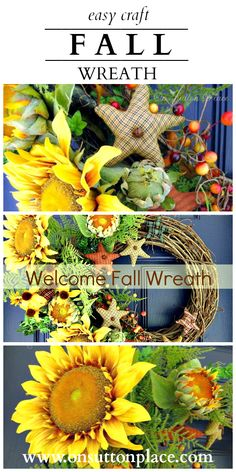 Inspiration for your front door and porch to welcome Fall including festive ideas for an autumn wreath and planters. by joan Wreath Crafts, Diy Wreath, Door Wreaths, Fall Crafts, Holiday Crafts, Welcome Fall, Autumn Wreaths, Thanksgiving Decorations, Thanksgiving Crafts