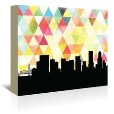 Americanflat PaperFinch Designs Portland Triangle by Amy Braswell Graphic Art on Wrapped Canvas Size: