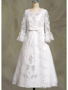 White Embroidery Long Sleeves Satin Flower Girl Dress