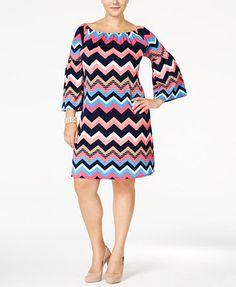 Love Squared Trendy Plus Size Chevron-Print Shift Dress   macys.com