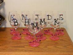 DIY painted wine glasses cute
