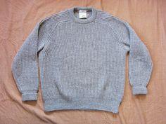 Vintage Large L.L. Bean English Wool Knit Sweater / Gray Cream
