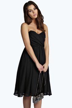 Lara Chiffon Ruched Top Bandeau Midi Prom Dress $20