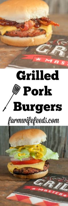 Grilled Pork Burgers - easy grill recipe using ground pork from Farmwife Feeds Bacon Recipes, Grilling Recipes, Crockpot Recipes, Easy Family Dinners, Family Meals, Easy Meals, Recipe Using Ground Pork, Dude Food, Picnic Potluck