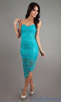 Short Lace Strapless Dress