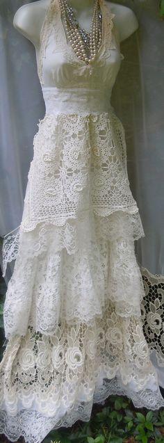Cream wedding dress boho mermaid crochet lace vintage bride outdoor romantic small by vintage opulence on Etsy