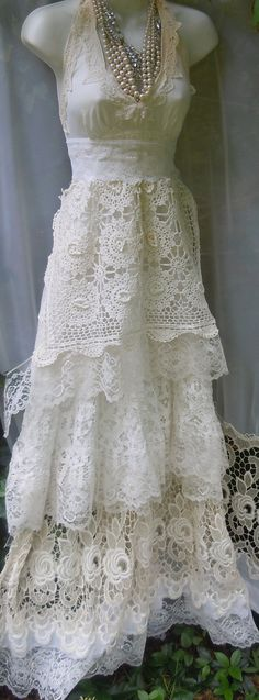 Cream wedding dress boho  mermaid crochet lace vintage bride outdoor  romantic small by vintage opulence on Etsy