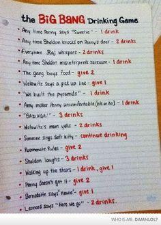 Big Bang Theory drinking game...who wants to play?!