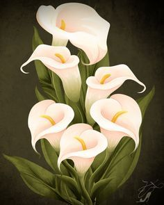 Few fresh cut flowers offer the elegance and versatility of the calla lily. If you are designing your own wedding bouquet, centerpieces or arrangements, the calla lily will provide all of the style… Lily Painting, Fabric Painting, Calla Lillies, Calla Lily, Art Floral, Watercolor Flowers, Watercolor Paintings, Canvas Art, Canvas Prints
