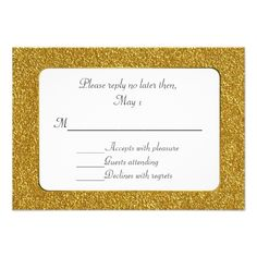 Shop Chic Gold Glitter Wedding RSVP Card created by DizzyDebbie. Gold Wedding Stationery, Glitter Wedding Invitations, Wedding Rsvp, Wedding Invitation Design, Wedding Rehearsal, Wedding Ideas, Gold Glitter Wedding, Wedding Response Cards, Rehearsal Dinner Invitations