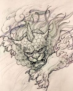 Tattoo Sketches, Tattoo Drawings, Drawing Sketches, Japanese Tattoo Designs, Japanese Tattoo Art, Foo Dog Tattoo Design, Totem Tattoo, Lion Tattoo Sleeves, Sunflower Tattoo Sleeve