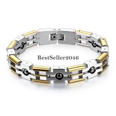 Edelstahl Armband Magnetarmband Magnet Armreif Armkette Gold Silber Modeschmuck