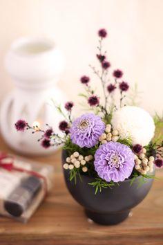 Japanese style preserved flower http://item.rakuten.co.jp/fine-flower/ag122/ 和風プリザーブドフラワー 紫音