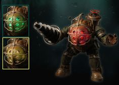 The icon of the highly successful BioShock video game franchise gets an upgrade! This deluxe Big Daddy Bouncer action figure is now electronic and features light up eye ports on his head. A 3-way switch allows you to select green, yellow, or red LED lights to represent his mood (batteries are included).  This incredibly game-accurate 7″ scale figure comes with removable tanks and full articulation.