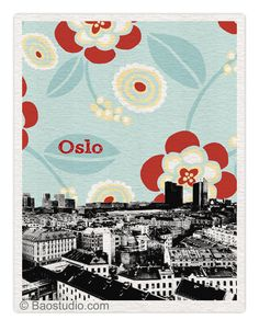 LIMITED EDITION - Oslo Norway  (Flower) 8x10 World Traveler Series Skyline Art Print Dated Signed Numbered - NO025M