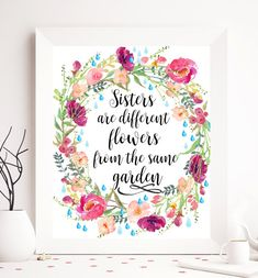 Calligraphy Quote Sister Print Sister Printable by SoulPrintables