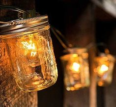 mason jar lights  ALSO   CUT  X  IN BOTTOM OF CUP CAKE PAPER AND SLIDE ON SOCKET,  THEN PUT IN BULB.   ENDLESS POSSIBILITIES