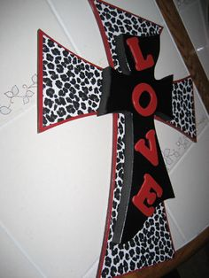Wall Cross for the Animal Print Lover with Red and by cthorses66, $30.00