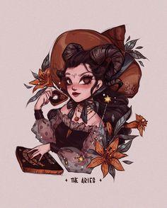 Arte Aries, Aries Art, Zodiac Art, Gemini Gemini, Character Art, Character Design, Witch Drawing, Witch Art, Aesthetic Art