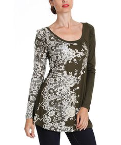 This Green Lace-Print Tunic - Women by Desigual is perfect! #zulilyfinds