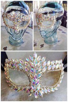 Fleurty Girl - Everything New Orleans - Rhinestone Mask, Iridescent - Mardi Gras…