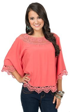 Origami Women's Coral with Crochet Trim Poncho Top | Cavender's