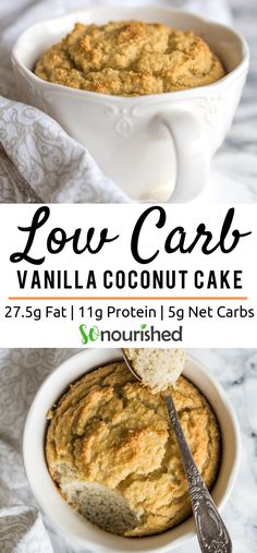 Vanilla Coconut Mug Cake - Low Carb, Desserts, Vanilla coconut mug cake is the perfect anytime dessert because it can be made in under ten minutes. The result is a bowl of delicious cakey goodness . Mug Recipes, Gourmet Recipes, Low Carb Recipes, Diet Recipes, Dessert Recipes, Snack Recipes, Keto Friendly Desserts, Low Carb Desserts, Healthy Desserts