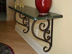 Glass Shelf Supports, Glass Shelf Brackets, Glass Shelves, Iron Furniture, Home Decor Furniture, Home Decor Kitchen, Diy Home Decor, Wrought Iron Decor, Iron Wall Decor