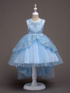 78b2c6a74 Flower Girl Dresses Baby Blue Lace Tulle Princess Tutu Dress Embroidered  Kids Ball Gown Pageant Dresses